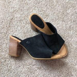 Born open toe suede slide heel sandals